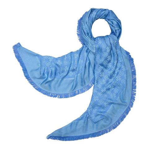 Tory Burch Marina Blue Traveler Oversized Square Scarf