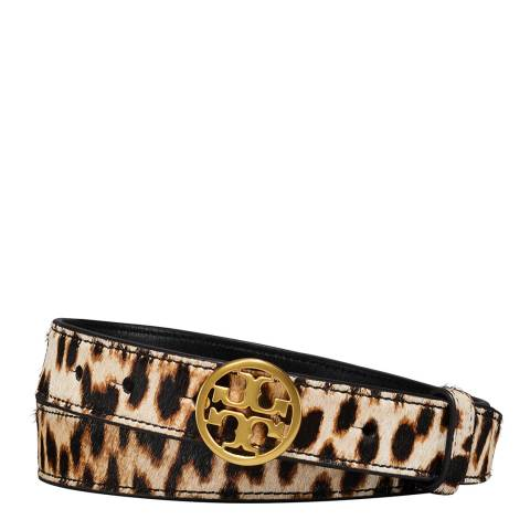 Tory Burch Natural Leopard Printed Calf Hair Logo Belt