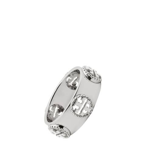 Tory Burch Silver Milgrain Logo Ring