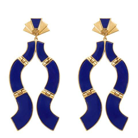 Tory Burch Blue Abstract Epoxy Earrings