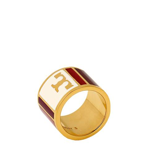 Tory Burch Liberty Red Geo Striped Ring