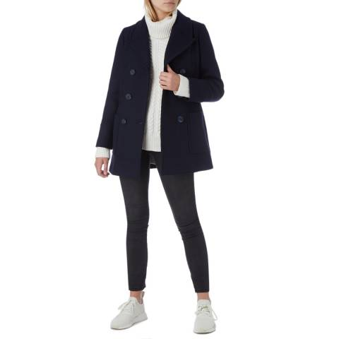 N°· Eleven Navy Wool Blend Double-Breasted Pea Coat