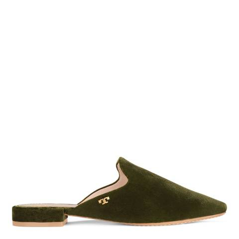 Tory Burch Banana Leaf Velvet Carlotta Backless Loafers