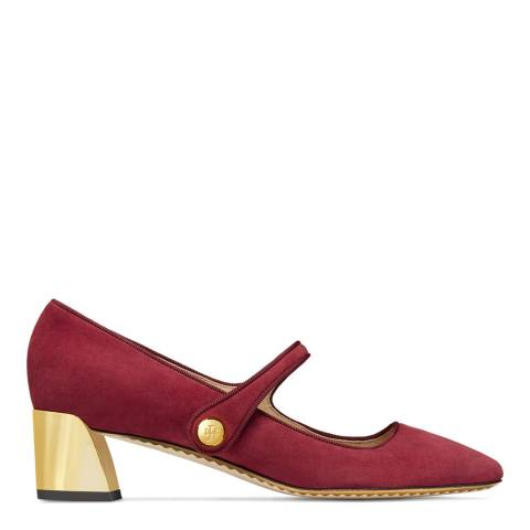 Tory Burch Tuscan Wine Suede Marisa Mary Jane Pumps