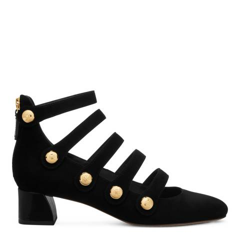 Tory Burch Black Suede Marisa Strappy Low Block Heels