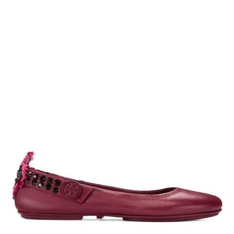 Tory Burch Imperial Garnet Leather Minnie Ballet Flats