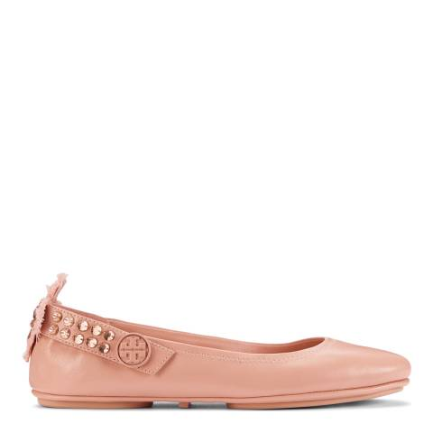 Tory Burch Warm Blush Leather Minnie Ballet Flats