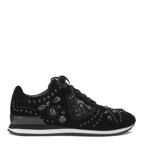 Tory Burch Black Suede Scarlett Embellished Sneakers