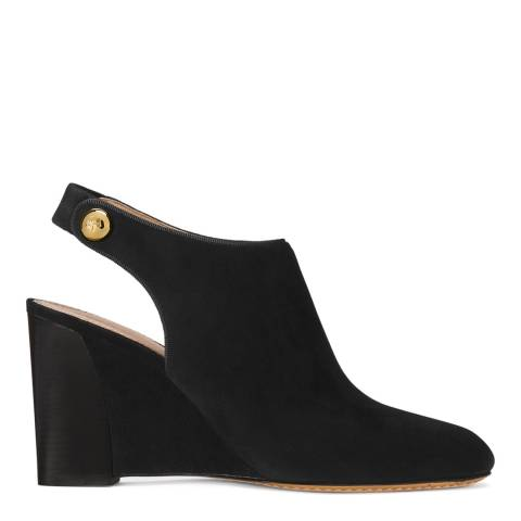 Tory Burch Black Suede Marisa Open Back Wedge Booties