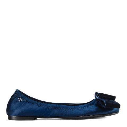 Tory Burch Navy Blue Satin Viola Bow Ballet Flats