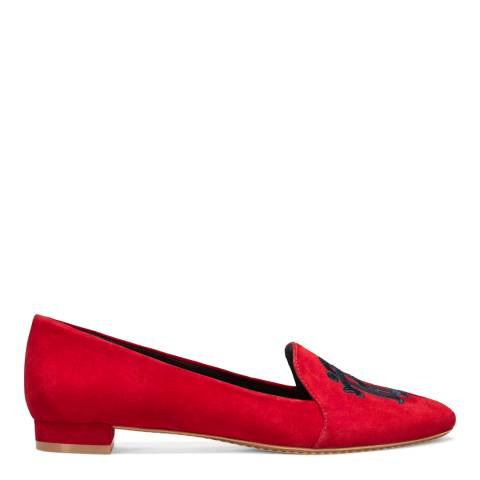 Tory Burch Liberty Red Suede Antonia Loafers