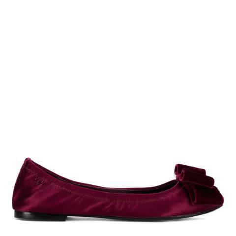 Tory Burch Imperial Garnet Satin Viola Bow Ballet Flats