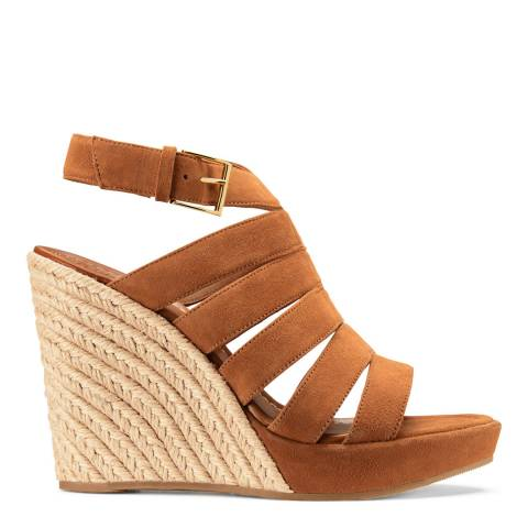 Tory Burch Tan Suede Bailey Wedge Espadrilles