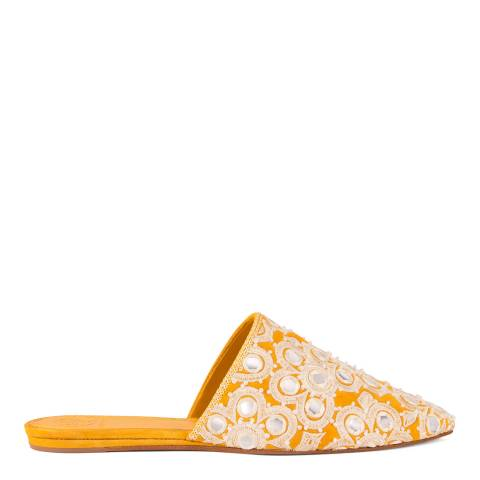 Tory Burch India Gold Embellished Elora Slides