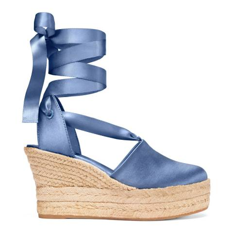 Tory Burch Blue Lotus Satin Elisa Wedge Espadrilles