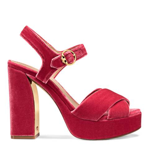 Tory Burch Jaipur Pink Velvet Loretta Platform Sandals