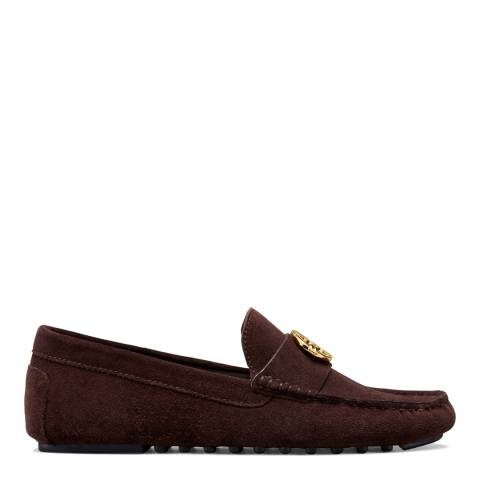 Tory Burch Chocolate Suede Gemini Link Driving Loafers