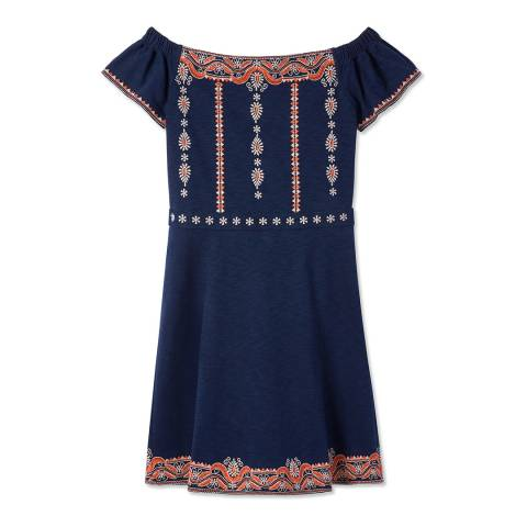 Tory Burch Navy Nell Flare Dress