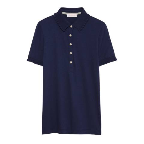 Tory Burch Navy Lacey Polo Shirt