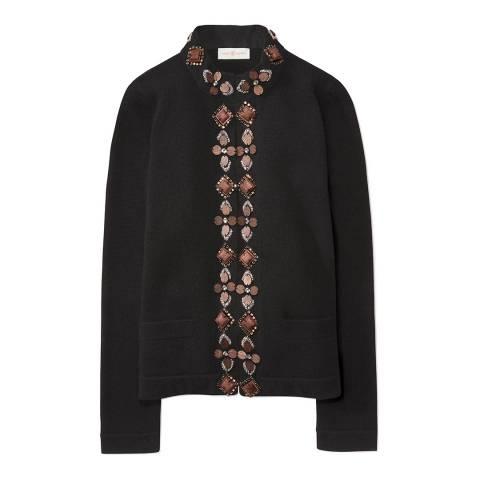 Tory Burch Black Emery Embellished Knit Jacket