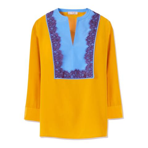 Tory Burch Yellow/Blue Claire Silk Tunic Top