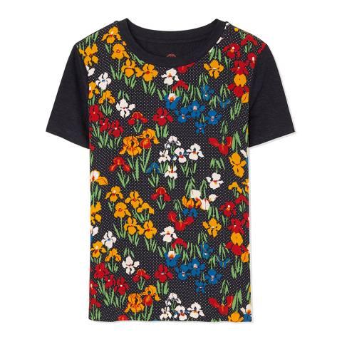 Tory Burch Navy Kayly Linen/Silk T-Shirt