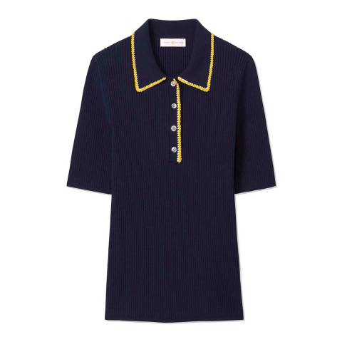 Tory Burch Navy Mila Crochet Polo Top