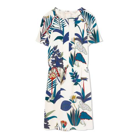 Tory Burch Ivory/Multi Utopia Anatolie Silk Dress