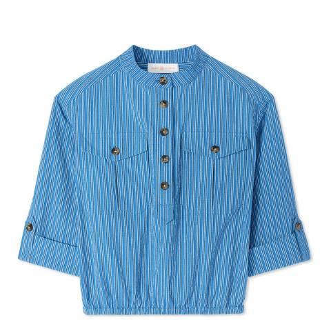 Tory Burch Blue Robin Textured Cotton Top