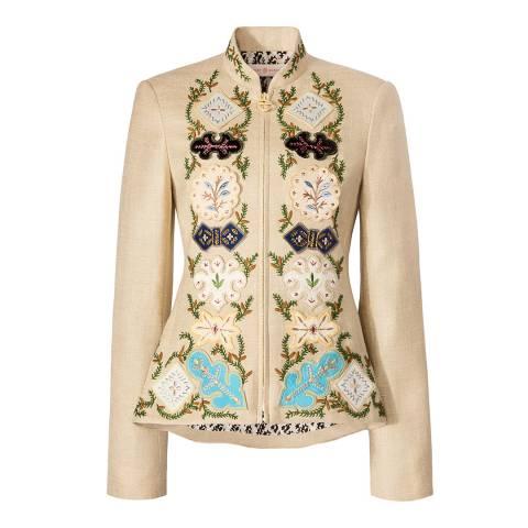 Tory Burch Beige Damian Embellished Jacket