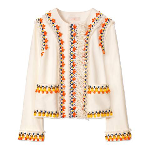 Tory Burch Ivory Eleanor Embellished Linen Jacket