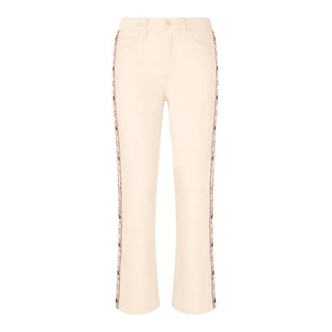 Tory Burch Cream Sandy Bootcut Jeans