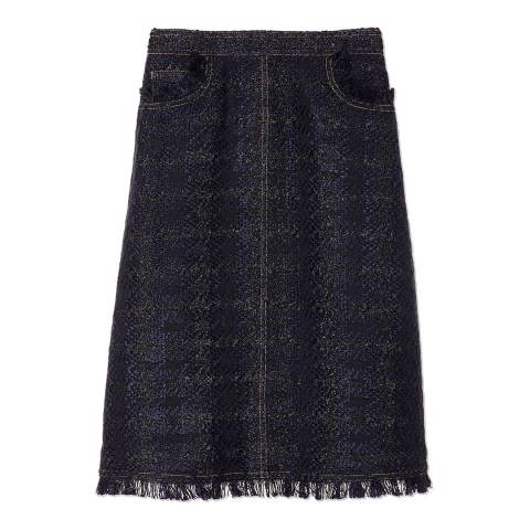 Tory Burch Indigo/Black Aria Tweed Skirt
