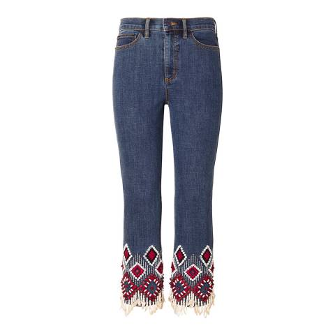 Tory Burch Blue Mia Cigarette Embellished Jeans