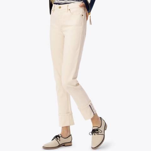 Tory Burch Ivory Kadie Boy Slim Jeans