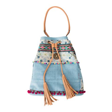 Pia Rossini Blue Aziza Bucket Bag