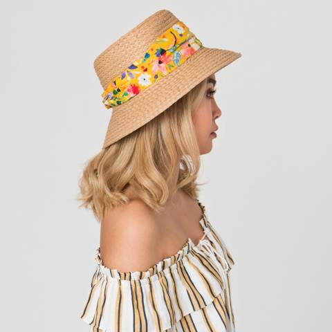 Pia Rossini Natural/Yellow Saffron Hat