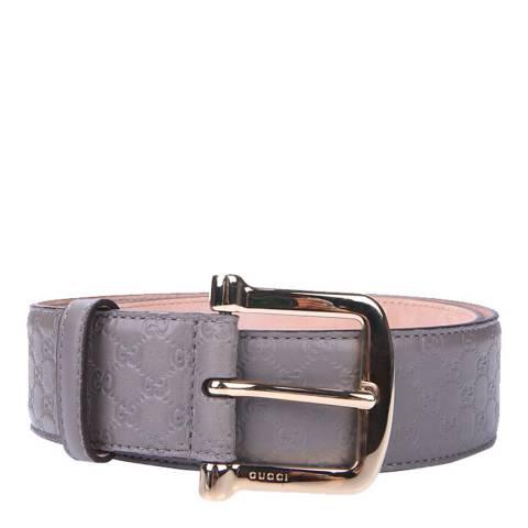 Gucci Grey Gucci Monogram Leather Belt