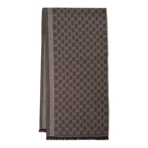 Gucci Brown Gucci Monogram Jacquard Wool Scarf