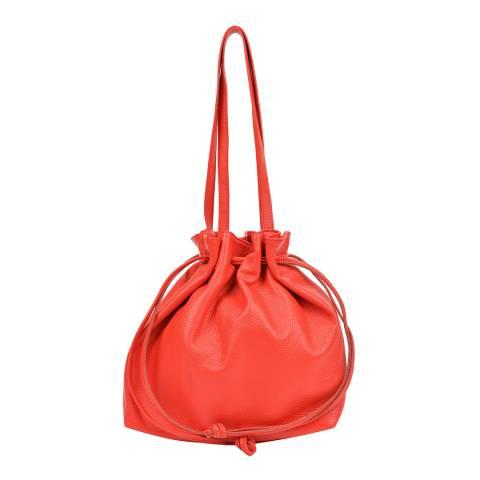 Mangotti Red Leather Bucket Bag