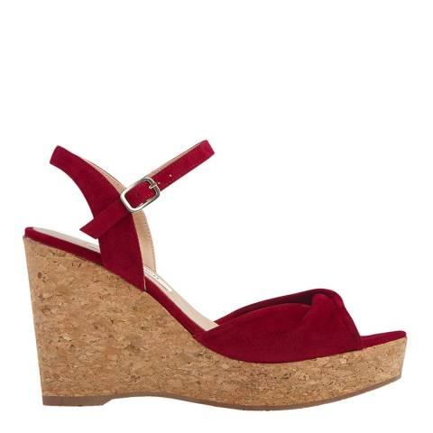 L K Bennett Red Poppy Adelina Cork Wedge Sandal