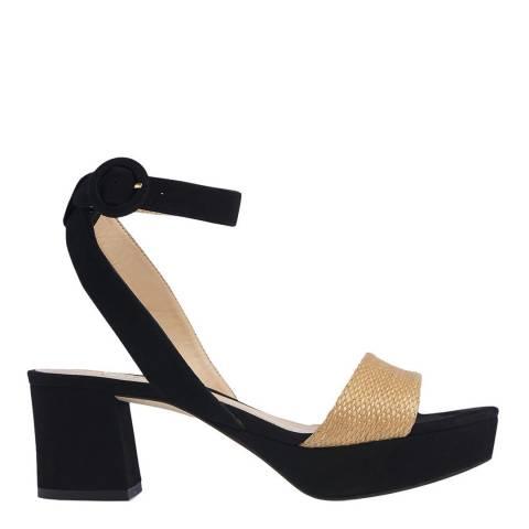 L K Bennett Black/Natural Alie Block Heel Sandal