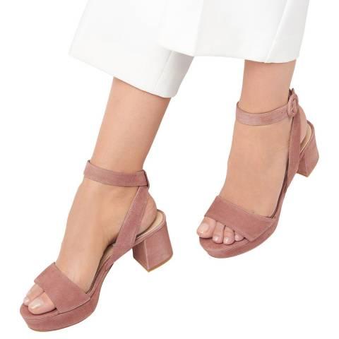 L K Bennett Dark Pink Alie Block Heel Sandal