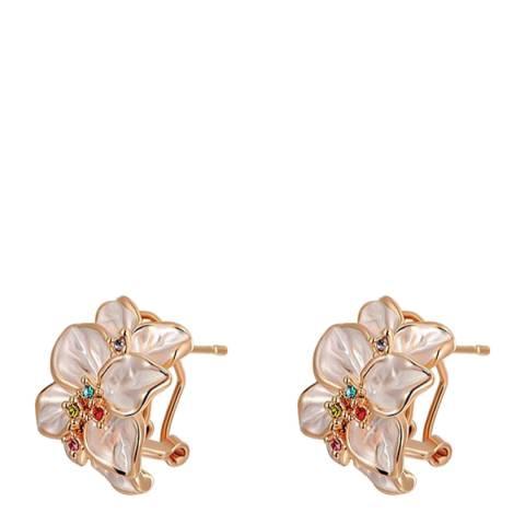 SWAROVSKI Flower Petal Clip Earrings with Swarovski Crystals