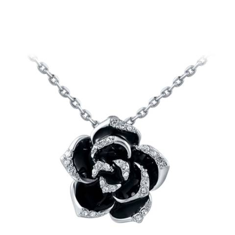 Ma Petite Amie Rose Petal Necklace with Swarovski Crystals
