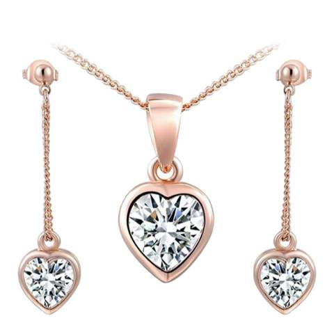 SWAROVSKI Heart Necklace And Earrings Set with Swarovski Crystals