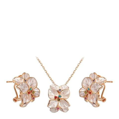 Ma Petite Amie Flower Petal Stud Necklace And Earrings Set with Swarovski Crystals