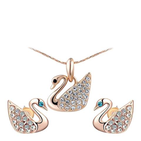 Ma Petite Amie Swan Necklace And Earrings Set with Swarovski Crystals