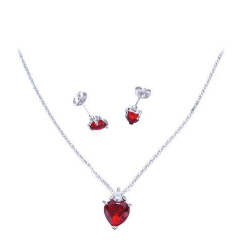 Ma Petite Amie Ruby Heart Necklace And Earrings Set with Swarovski Crystals