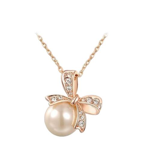 SWAROVSKI Butterfly Pearl Necklace with Swarovski Crystals